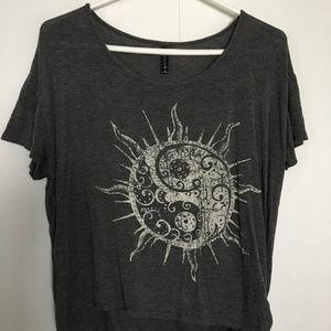 Tilly's Sun Yin Yang Side Tie T-shirt